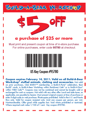 Build a bear printable coupons 5 off 10