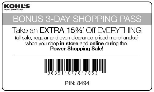 Printable 15% off KOHLS Coupon