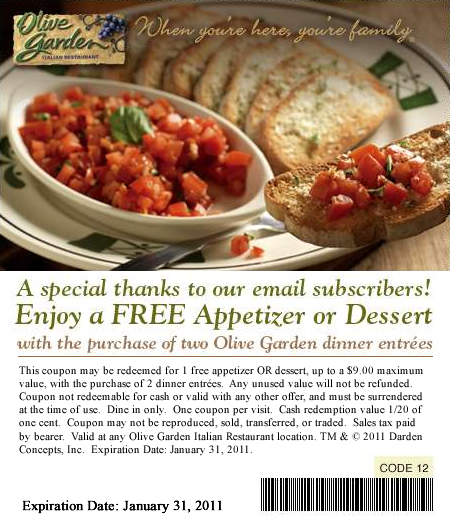 free dessert or appetizer at the olive garden with purchase