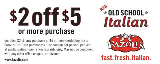 image regarding Fazoli's Printable Coupons identified as $2 off $5 Fazolis Coupon - Who Mentioned Nothing at all inside of Lifestyle is Free of charge?