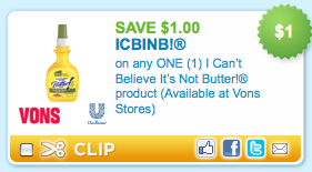 $ off 1 I Can't Believe It's Not Butter New Simple Recipe printable coupon (no longer available) Note: This coupon does have the Safeway logo on it but is a manufacturer coupon .