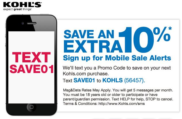 sign up for kohls coupons mail