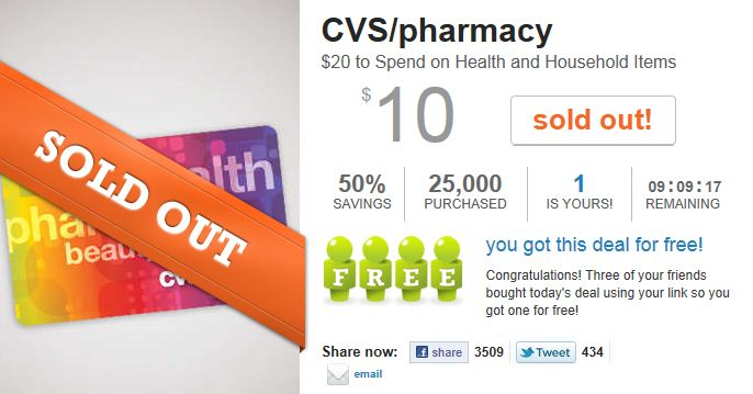 hot   20 cvs gift card for only  10