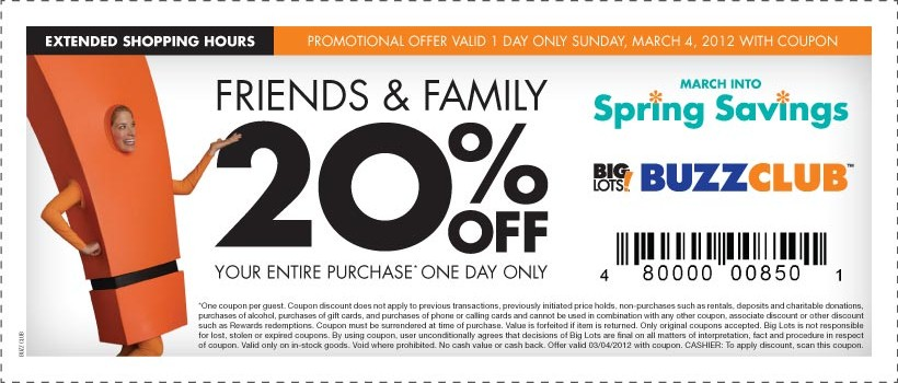 20 Off Big Lots Coupon Good Sunday 3 4 Who Said Nothing In Life