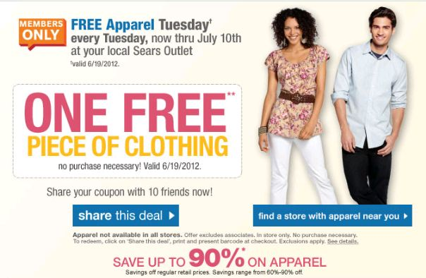 If you have a Sears Outlet nearby that carries apparel (please note that not all Outlet stores carry apparel), then you may be excited to hear that today is once again FREE apparel Tuesday! To get in on this deal, you must be a Shop Your Way Rewards Member (it's FREE!) with a valid email [ ].