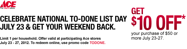 photograph relating to Ace Hardware Printable Coupons named Ace components printable coupon 10 off - Wicked ticketmaster