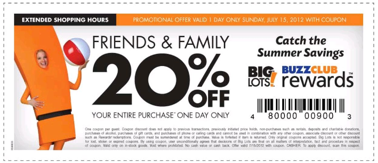 Big lots coupon code