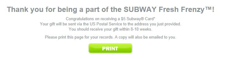 how to get a free subway for life card
