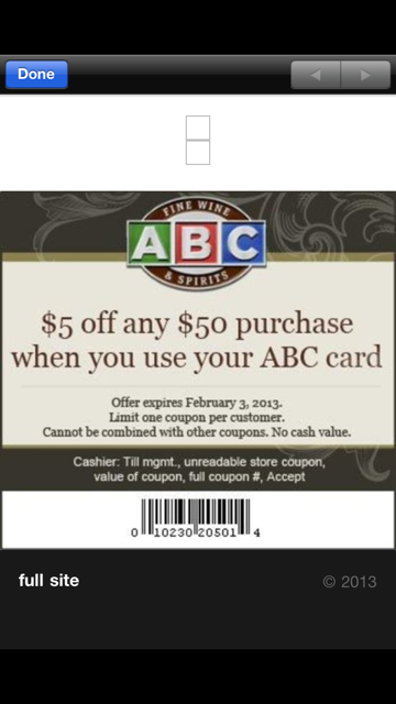 Liquor discount coupons