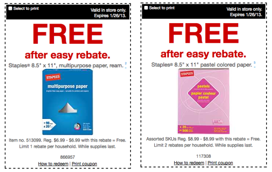 A Staples Easy Rebate lets you claim a rebate from a register receipt by inputting information online with no mailing required. Today's Staples Top Offers: Up to $15 Cash Back For Online Purchases.