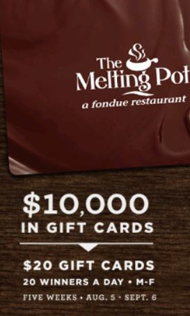 Why buy a gift card with GiftRocket A GiftRocket gift card with suggested use at Melting Pot is a delightful digital cash present for friends, family, and co-workers. It's the perfect last minute online gift for a birthday, graduation, wedding, holiday, and more. See how it works.