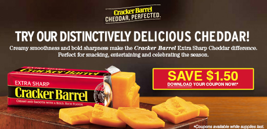 There is a new Cracker Barrel Cheese Coupon available to print. If needed try changing your zip code to Print $/2 Cracker Barrel Cheese Coupon *If you cannot see the Cracker Barrel Cheese coupon, you may need to go to here and change your zip code to .