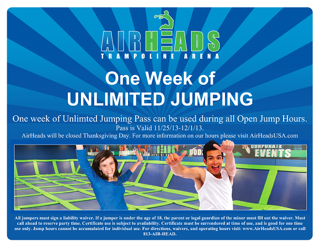 Airheads orlando coupons