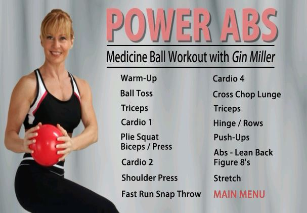 The included Power Abs DVD has a great 30 minute workout using the Medicine  Ball in lots of ways to work different muscle groups.