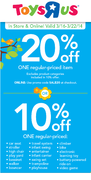 photograph regarding Toys R Us Printable Coupon called Toys R Us 10% in direction of 20% off Coupon (legitimate via 3/22) - Who Reported