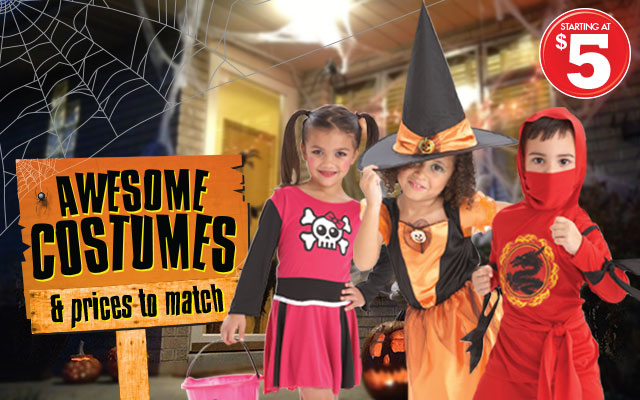 Discount Halloween Costumes. Silly or scary? Pirate or witch? Shop your local Family Dollar store for Halloween costume sales, including genuine superhero costumes like Wonder Woman and Spiderman, to fit any imagination.