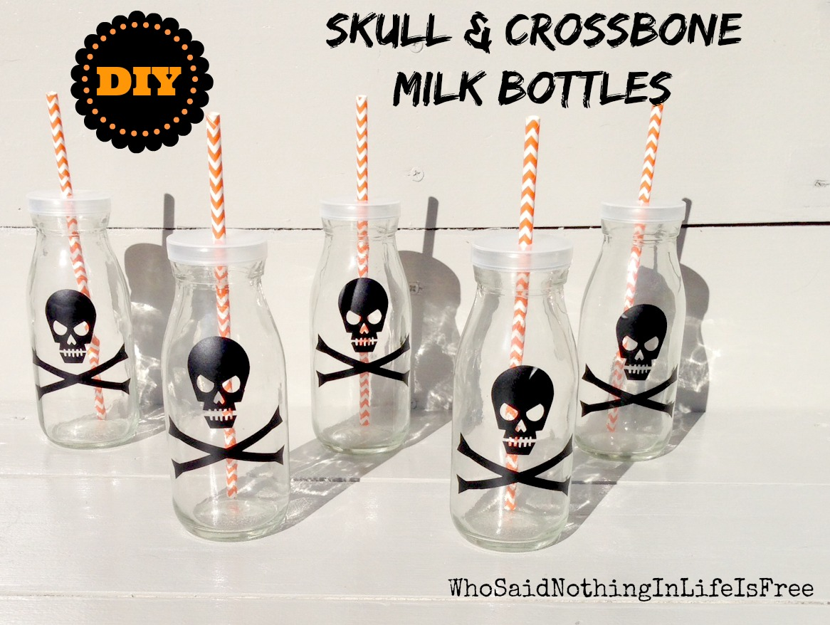 DIY Skull and Crossbone Milk Bottles