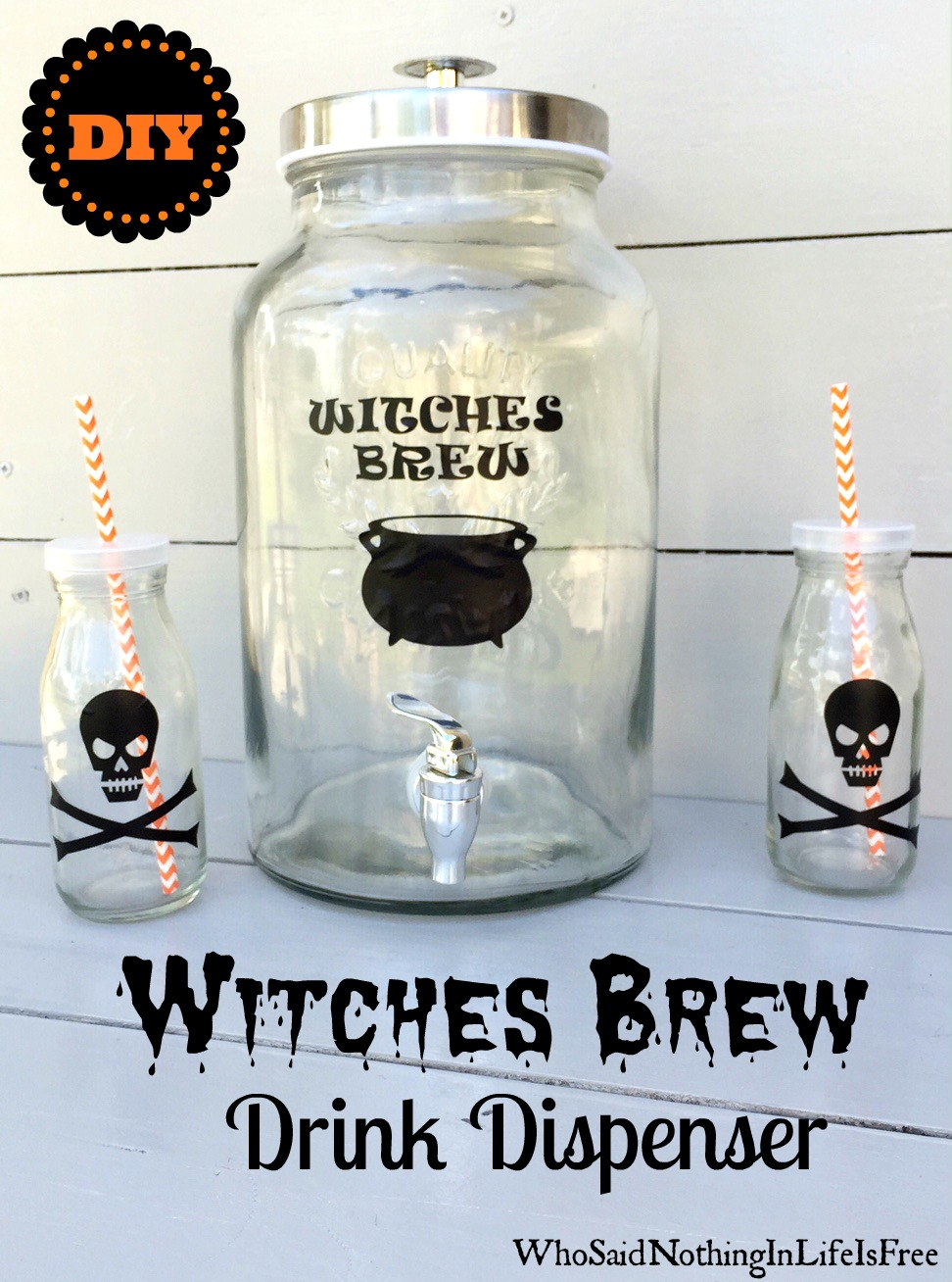 diy halloween witches brew drink dispenser - who said nothing in
