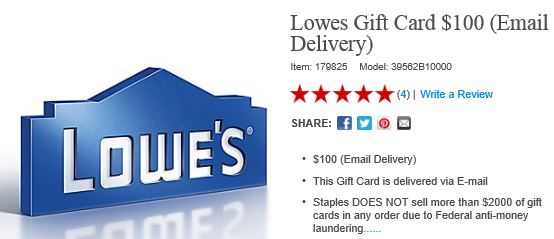 $100 Lowes Gift Card for $85 - Who Said Nothing in Life is Free?