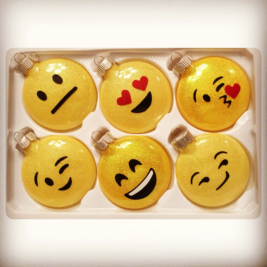 Glitter Glass Emoji Christmas Ornaments