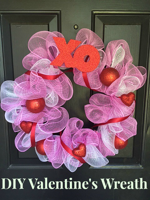 DIY Valentines Mesh Wreath