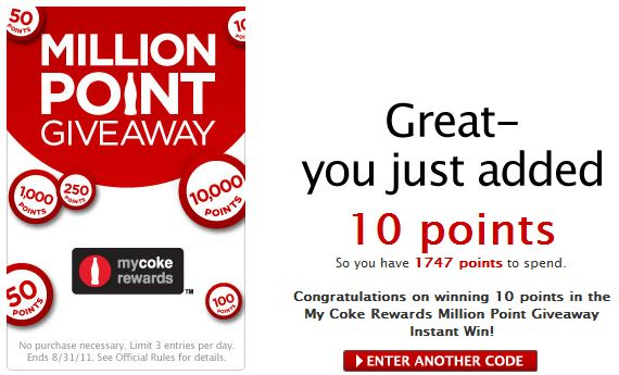 mycokerewards sweepstakes winners mycokerewards million point giveaway who said nothing in 6546